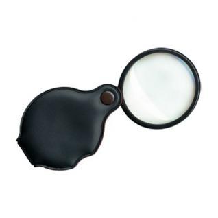 SAFE 9847 Schwarze Einschlaglupe Lupe Linse Echtglas 50 mm 3, 5 fache Vergrößerung im wattiertem Etui