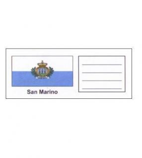 6 x KOBRA FEL-LAND-SAN Länderschildchen mit farbiger Flagge San Marino Für die Münzblätter FE24 oder zum gestallten von Vordruckblättern
