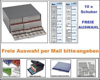 SAFE 6100 Set BEBA Münzkasten Sammelkasten MAXI komplett mit + 10 Schubern Schubladen gefüllt Für Geocoins TBs Geocaching Freie Auswahl