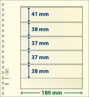 10 x LINDNER 802501P T-Blanko-Blätter Blankoblatt 18-Ring Lochung 5 Taschen 41 / 38 / 37 / 37 / 38 x 189 mm