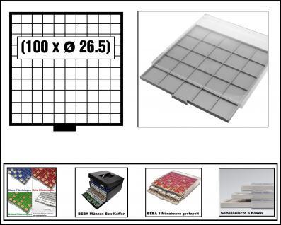 SAFE 6610 BEBA MÜNZBOXEN Standard Grau 100 quadratische Fächer 26, 5 mm Für 50 Euro Cent, 1 Euro, 2 Euro Gedenkmünzen & Münzkapseln bis Caps 20