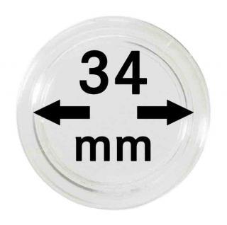 10 LINDNER Münzkapseln / Münzenkapseln Capsules Caps 34 mm 2250034P