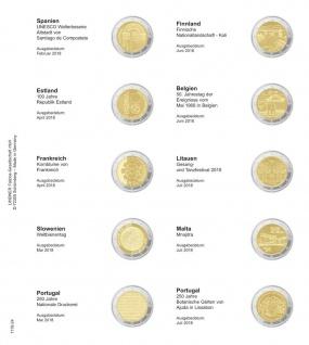 1 x LINDNER 1118-24 Vordruckblatt + K3 Karat Blatt - 2 EURO Gedenkmünzen Spanien 2018 - Portugal 2018 - Vorschau 1