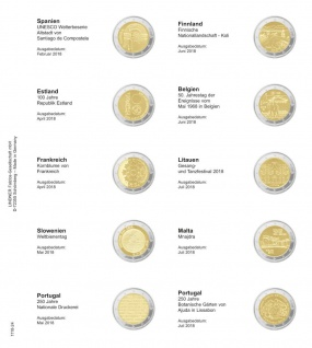 1 x LINDNER 1118-24 Vordruckblatt + K3 Karat Blatt - 2 EURO Gedenkmünzen Spanien 2018 - Portugal 2018