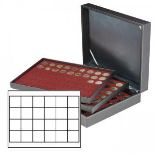 LINDNER 2365-2724E Nera M Münzkassetten 3 Einlagen Dunkelrot Rot 60 Fächer für Münzen bis 41x 41 mm - 1 Dollar US Silver Eagle $