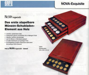 SAFE 6833 XXL Nova Exquisite Holz Münzboxen Schubladenelemente mit 2 Tableaus 6333 und 48 Eckige Fächer 33 mm Für Münzen bis 26 - 27 - 28 mm in Münzkapseln und 10 DM 10 - 20 Euro Gedenkmünzen - Vorschau 3