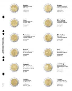 1 x LINDNER MU2E10 Multi Collect Münzblätter Münzhüllen Vordruckblatt 2 Euro Gedenkmünzen Spanien Februar - Finnland November 2013