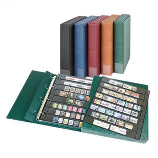 LINDNER 1100B-W Kassettenbinder Briefmarkenalbum Einsteckalbum ECO Weinrot Rot + 20 Einsteckblättern Hüllen Omnia 08 mit 8 glasklaren Streifen
