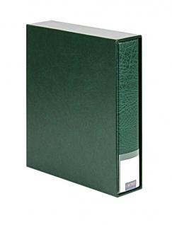 LINDNER 3533-G Grün Publica LS Ringbinder Album Universal A4 + Schutzkassette (leer) zum selbst befüllen