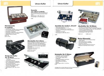 SAFE 281 Carbo - Schwarzes Leder Reiseetui Uhren Etui Reisebox für Armbanduhren Uhrenetui Uhrenbox in Kroko Optik - Vorschau 3