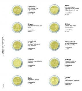 1 x LINDNER 1118-21 Vordruckblatt + K3 Karat Blatt - 2 EURO Gedenkmünzen Frankreich 2017 - Litauen 2017