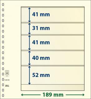 10 x LINDNER 802504P T-Blanko-Blätter Blankoblatt 18-Ring Lochung 5 Taschen 41 / 31 / 41 / 40 / 52 x 189 mm - Vorschau 1