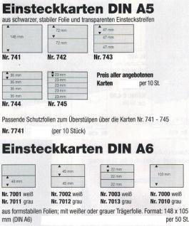 10 SAFE 742 DIN A5 Einsteckkarten Steckkarten Klemmkarten schwarze Folie + 2 Streifen glasklar 72x210 mm - Vorschau 2