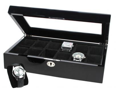 SAFE 263 Lackholz Uhrenkassette Weiss Piano Optik mit 12 Uhrenhaltern klarem Sichtfenster - Schmuck - Uhren - Armbanduhren - Vorschau 4