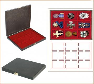 LINDNER S2491-2619E CARUS-1 Echtholz Holz Sammelkassette Münzkassetten Für 9 Fächer 63x85 mm Für Militaria Orden Abzeichen Medaillen