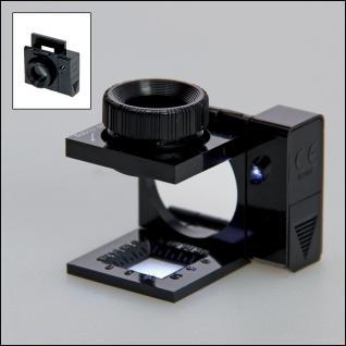 SAFE 4635 Metall Präzisions Standlupe Fadenzähler Midi Lupe Linse 15mm - 10x fache Vergrößerung + Fokus einstellbar + LED Beleuchtung + Batterien