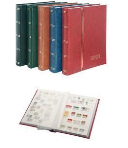 """Lindner 1167-R Briefmarken Einsteckbücher Einsteckbuch Einsteckalbum Einsteckalben Album """" Standard """" Weinrot Rot 64 geteilte weiße Seiten"""
