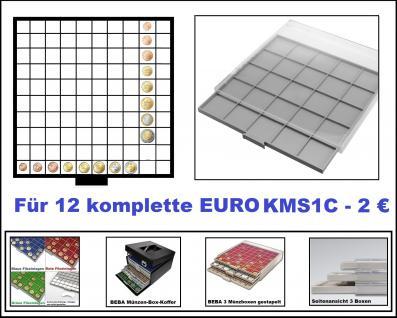SAFE 6610 BEBA MÜNZBOXEN Standard Grau 100 quadratische Fächer 26, 5 mm Für 12 komplette Euro Kursmünzensätze KMS von 1 , 2 , 5 , 10 , 20 , 50 Cent & 1 , 2 Euromünzen