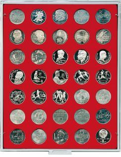 LINDNER 2104 MÜNZBOXEN Münzbox Standard für 35 Münzen 31 mm Ø 1 Rubel - 10 Mark DDR - Vorschau 1