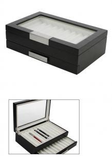 """SAFE 3029-2 Schwarze Design Holz Sammelvitrine """" Helsingborg """" Vitrinen Stiftebox Display Box für 20 Schreibgeräte - Füller - Füllfederhalter - Kulgelschreiber - Buntstifte - Bleistifte usw."""