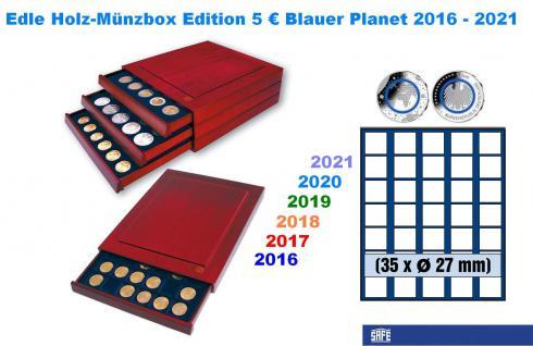 SAFE 6827 Nova Exquisite Holz Münzbox Münzboxen Schubladenelement 5 Euro Blauer Planet Erde Serie 2016 2017 2018 2019 2020 2021