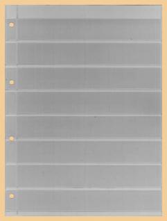 10 x KOBRA E18 Combi Einsteckblätter einseitig glasklar 8 Streifen 30 x 200 mm Ideal für Briefmarken - Vorschau 1