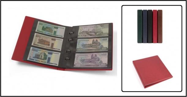 KOBRA G23 Rot Banknotenalbum Ringbinder 10x G23E Ergänzungsblättern 3er Teilung Für bis zu 60 Banknoten Geldscheine Notgeldscheine Papiergeld