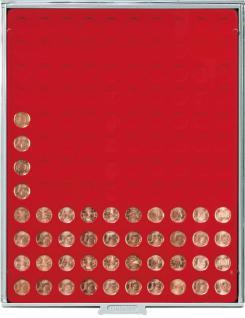 LINDNER 2501 Münzbox Münzboxen Standard Grau 120 x 16, 5 mm für 1 EURO Cent / 1 Pfennig