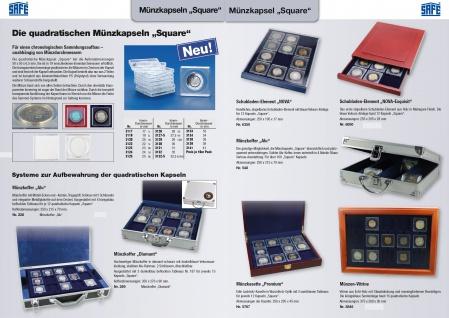 10 x SAFE 3125 Quadratische Münzkapseln Münzdosen Square 50x50 mm glasklar für Münzen bis 25 mm - Ideal für 50 Cent - 1 Mark Kaiserreich Silber - State Quarters USA - 10 Rubel Alexander Gold - Vorschau 4