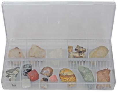 LINDNER 4820 Stapelbare Sammelvitrine glasklar und Präsentationsbox 12 Fächer für Mineralien & Fossilien & Steine