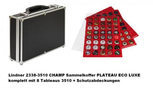 2 x LINDNER 3510P Sammel Tableaus Einlage PLATEAU ECO LUXE mit Klarsichtdeckel Für 80 Champagerdeckel Champagnerkapseln - Vorschau 2