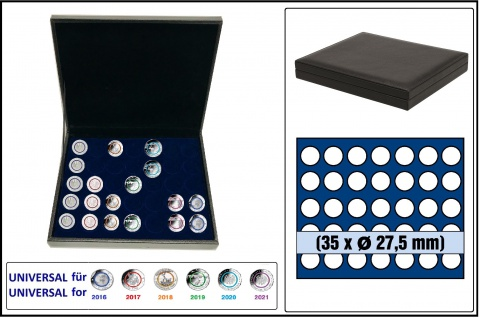 SAFE 63280 NOVA deluxe Münzkassette schwarz 35x runde Fächer 27, 5mm Ideal für 5 EURO Klimazonen & Blauer Planet Erde 2016-21