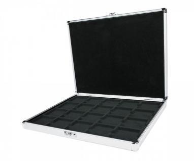 LINDNER S2301-2122CE Münzkassette ALU für 20 Münzrähmchen 50x50 mm / Münzkapseln CARRÉE / OCTO Münzkapseln - mit schwarzer Münzeinlage - SONDEREDITION