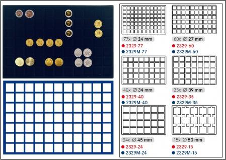 1 x LINDNER 2929M-77 Münztableaus / Einlagen Blau 77 Münzen bis 24 mm für 1 DM Euro Kronkorken US Quarter