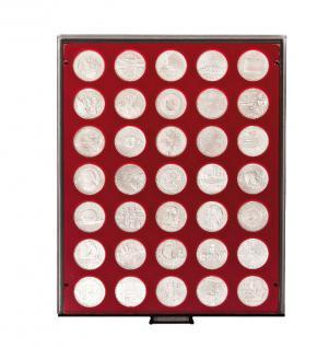 LINDNER 2711 MÜNZBOXEN Münzbox Rauchglas 35 x 32, 5 mm 10 & 20 EURO Münzen
