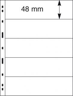 5 x LINDNER 075 UNIPLATE Blätter, schwarz 5 Streifen / Taschen 48 x 194 mm Für Briefmarken - Vorschau 2