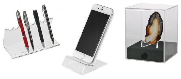 SAFE SET 73705 + 3143 + 5286 Acryl Design Schreibgeräte Organizer Stiftehalter + Telefon Handy Ständer + Deko Cube S