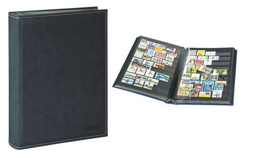 Lindner 1195-S Briefmarkenalbum Einsteckbücher Einsteckbuch Diamant Schwarz 60 schwarze Seiten klare Streifen + klare Folien ZWL