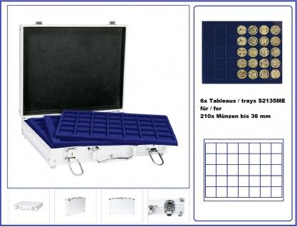 LINDNER S2307-S2135ME MÜNZKOFFER im ALU Design + 6 blauen Tableaus S2135CE für Münzen bis 36 mm & Münzkapseln bis 30 mm - Ideal für 10 & 20 Euromünzen