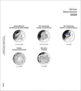 1 x LINDNER 1520-20 Münzhüllen Münzblätter Ergänzungsblätter K2 + Vordruckblatt 20 Euro Münzen Deutschland 2020