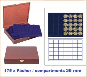LINDNER S2495-S2135ME Echtholz Holz Münzkassetten 5 blaue Tableaus 2135ME für 175 Münzen bis 36 mm - Ideal für 2 Euro in Münzkapseln & 10 & 20 Euro Gedenkmünzen