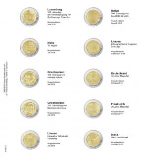 1 x LINDNER 1118-27 Vordruckblatt + K3 Karat Blatt 2 EURO Gedenkmünzen Luxemburg 2019 - Malta 2019