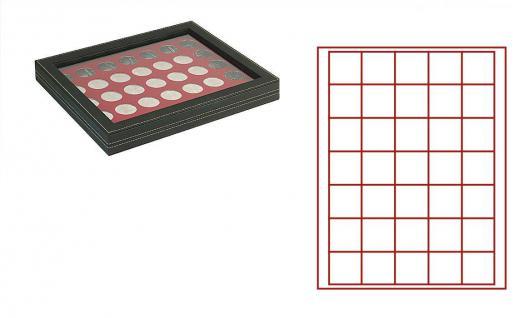 LINDNER 2367-2735E Nera M PLUS Münzkassetten Einlage Dunkelrot Rot mit glasklarem Sichtfenster 35 Fächer für Münzen bis 36 x 36 mm - 5 Reichsmark 100 ÖS Schillinge