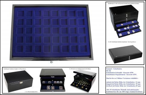 1 x SAFE 5903-2 Schwarze Schubladen doppelt tief 25 mm blaue Tableaus 40 eckige Fächer 30 mm Ideal für Schmuck - Mineralien - Bernstein - Edelsteine - Kristalle