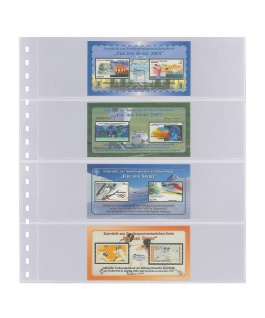 1 x LINDNER 824 Klarsichthüllen mit 4 Taschen 242 x 65 mm Für Banknoten Briefmarken Markenheftchen