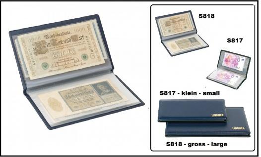 Lindner S818 Blau Banknoten Taschenalbum Banknotenalbum groß bis 210x125 mm