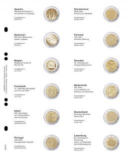 1 x LINDNER MU2E6 Multi Collect Münzbläatter Münzhüllen Vordruckblatt 2 Euro Gedenkmünzen Spanien März 2010 - Luxemburg Februar 2011
