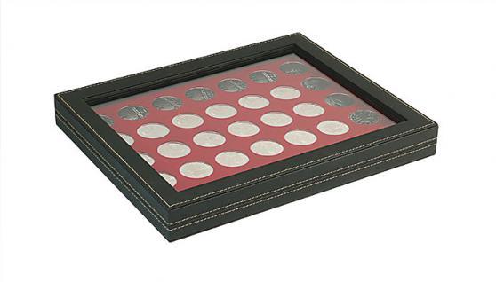 LINDNER 2367-2711E Nera M PLUS Münzkassetten Einlage Dunkelrot Rot mit glasklarem Sichtfenster 35 x Münzen 32, 50 mm für 10 & 20 Euro / DM / 10 & 20 Mark DDR