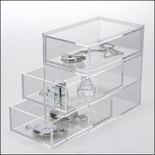 SAFE 5264 Acrylglas Design Schmuckkästchen Schubladen Element Kasten mit 3 Ebenen - Ideal Für Uhren Schmuck Ketten Ringe Ohrringe B 100 x L 150 x H 150