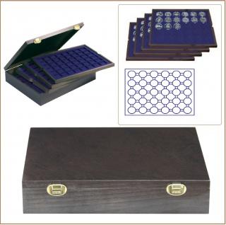 LINDNER 2494-8M CARUS-4 Echtholz Holz Münzkassetten 4 Tableaus blau 120 Fächer Münzen bis 39 x 39 mm bis Münzkapseln 32, 5 - 33 Für 10 - 20 Euro